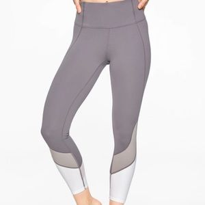 Athleta Gray Colorblock Mesh Leggings